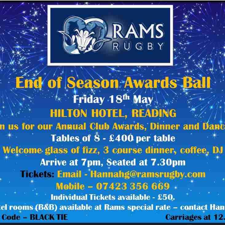 RAMS End of Season Awards Ball - Friday 18th May