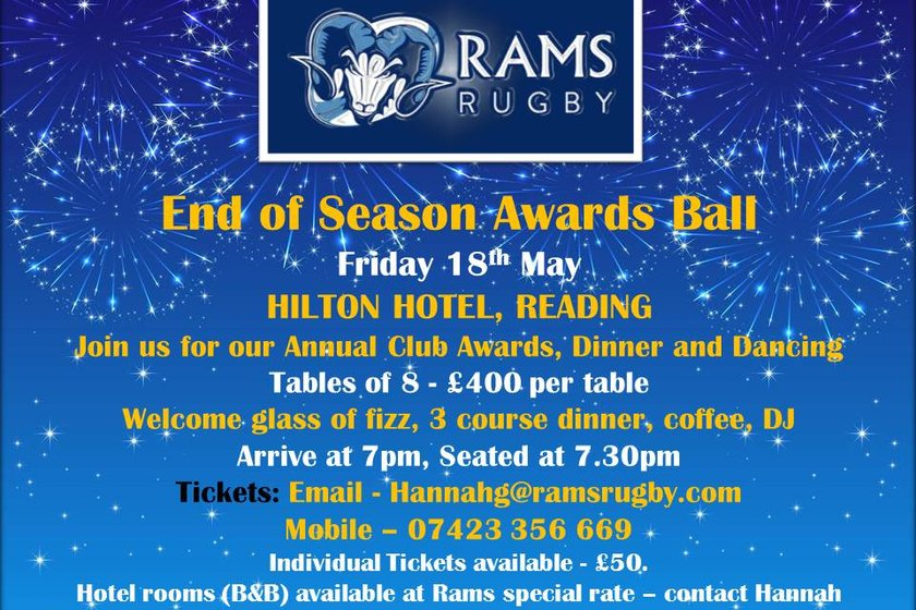 RAMS End of Season Awards Ball - Friday 18th May