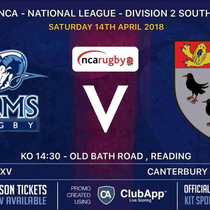 Rams 1st XV v Canterbury RFC Saturday 14th April KO 2.30pm