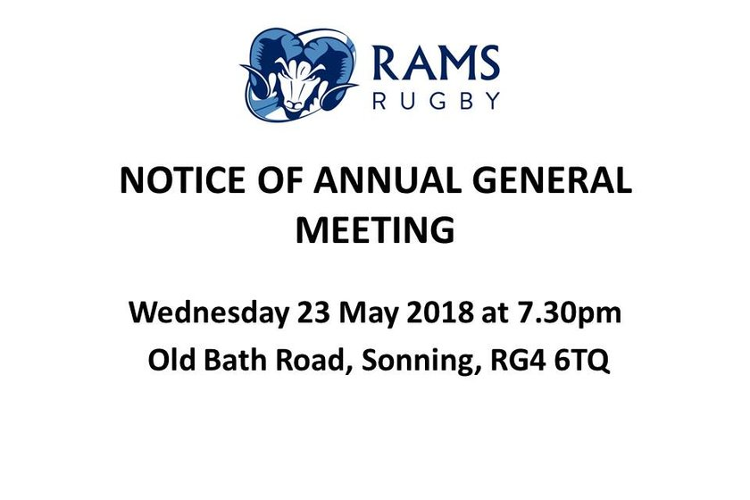 NOTICE OF ANNUAL GENERAL MEETING - Wed 23rd May 2018