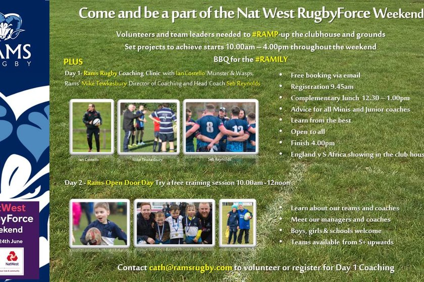 Join RAMS for Nat West Rugby Force Weekend 23rd and 24th June 2018