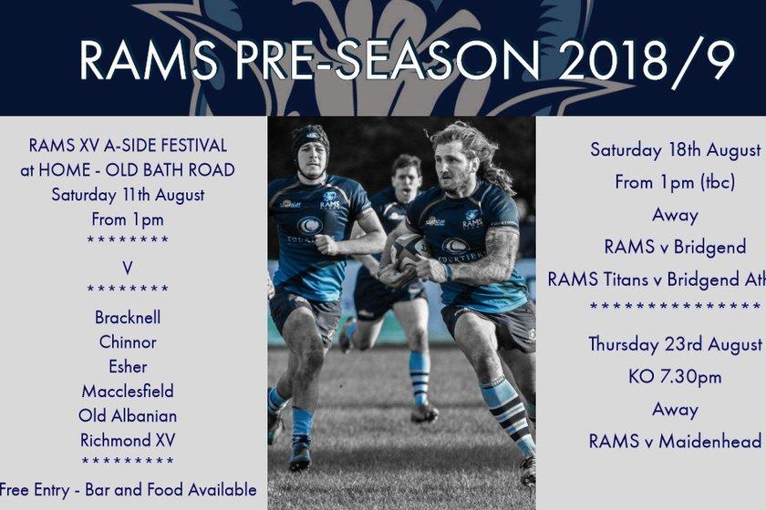 Rams Pre-Season 2019/19 Fixtures