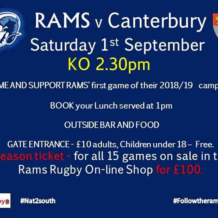 First Game of the Season - RAMS 1st XV v Canterbury - Sat 1st Sept KO 2.30pm