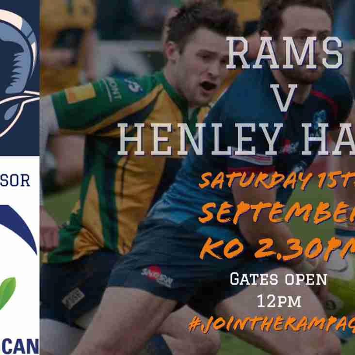 RAMS v HENLEY HAWKS - Sat 15th Sept KO 2.30pm, Old Bath Road