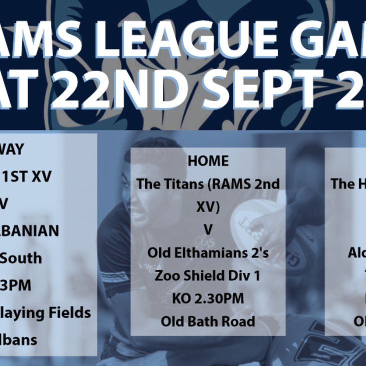 Rams teams in league action Saturday 22nd September 2018<