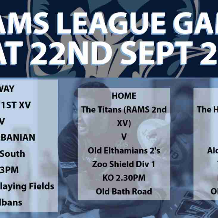 Rams teams in league action Saturday 22nd September 2018