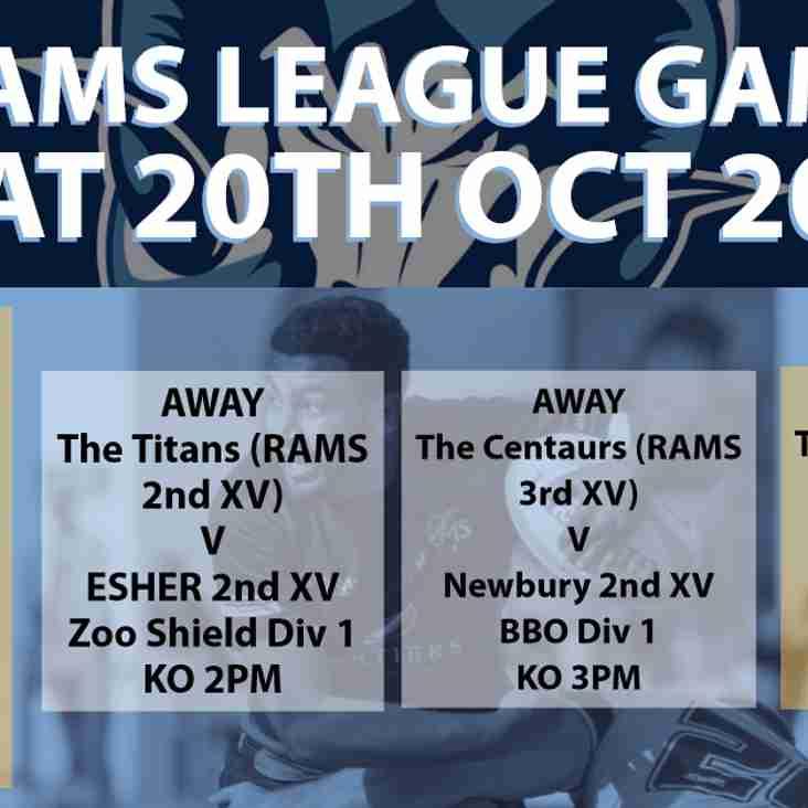 Rams teams in league action Saturday 20th October 2018
