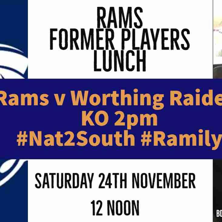 Rams v Worthing Raiders Sat 24th Nov - Calling all club former players!