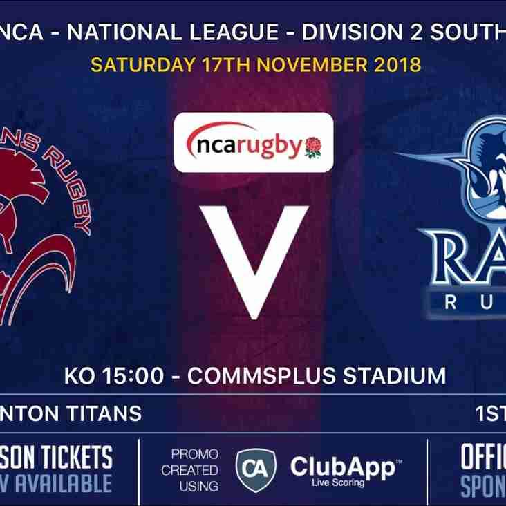 Rams teams in league action Saturday 17th  November 2018
