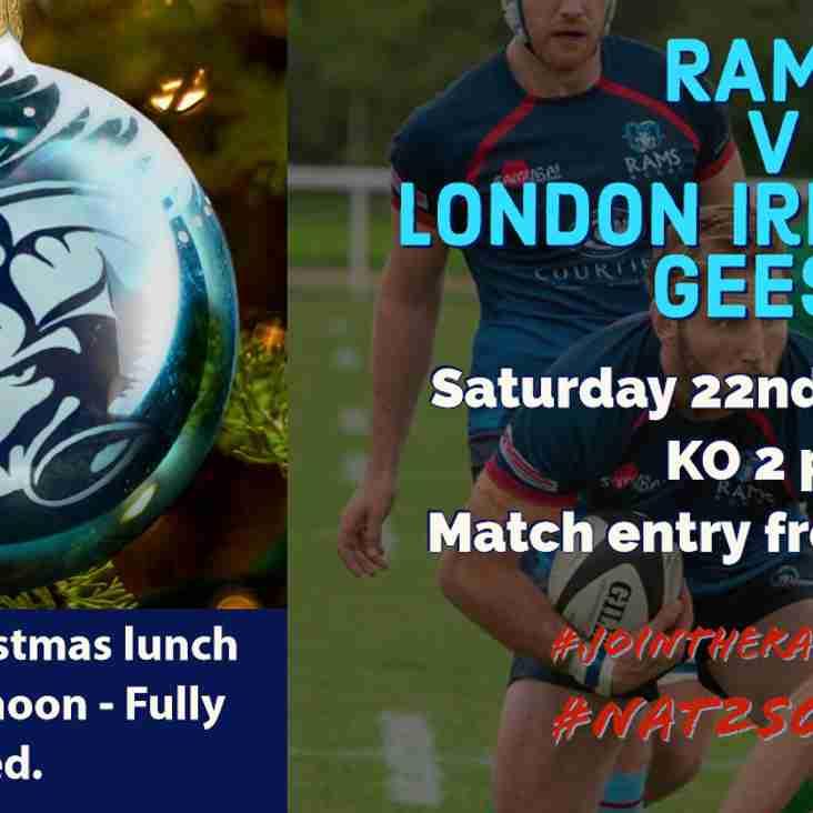 RAMS v London Irish Wild Geese - Sat 22nd Dec  KO 2pm, Old Bath Road