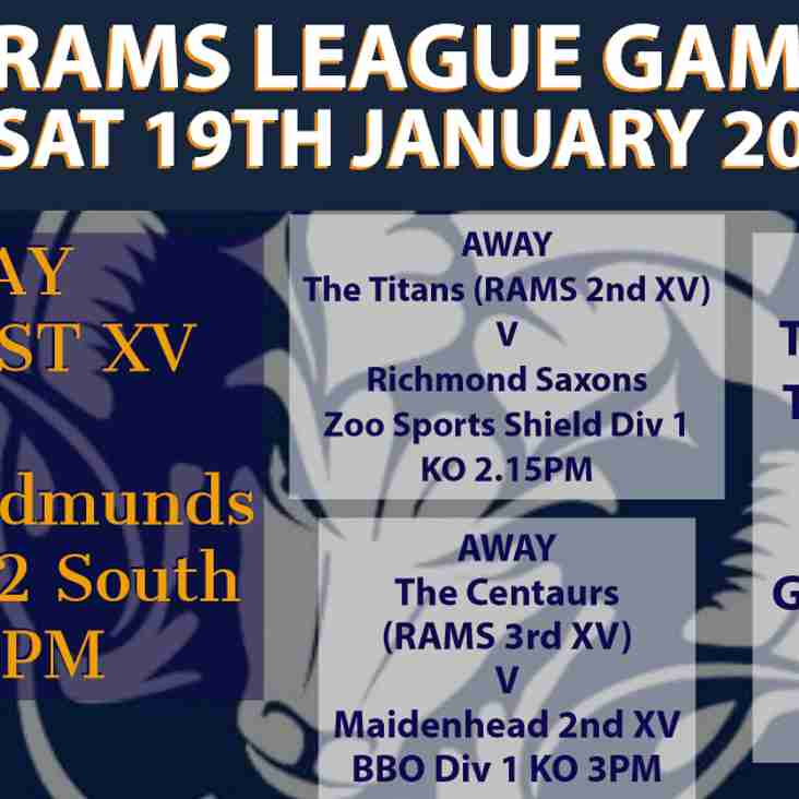 Rams teams in league action Saturday 19th January 2019