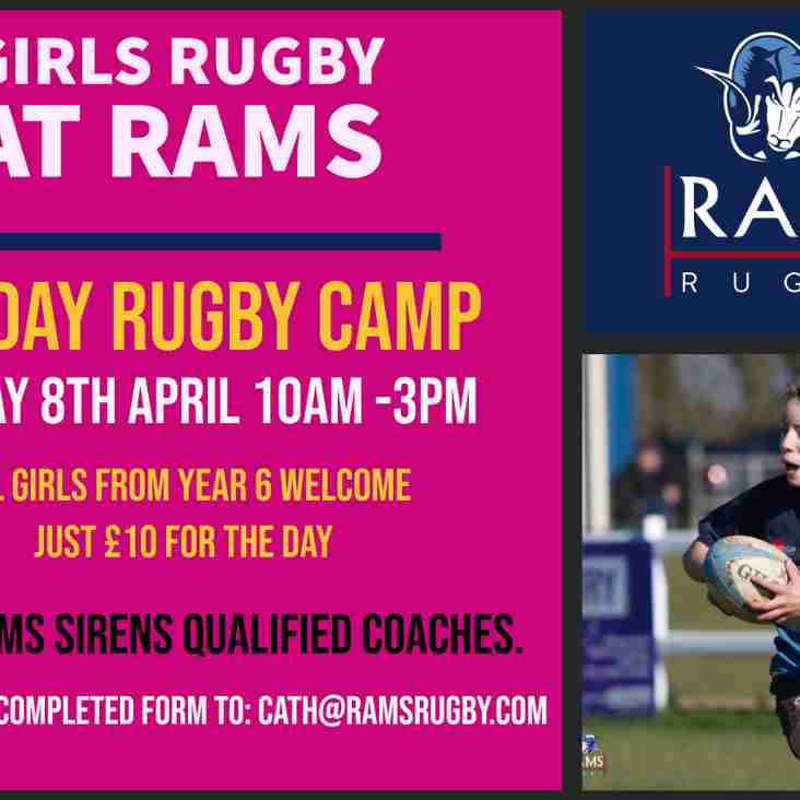 RAMS Easter Rugby Camp for Girls - Monday 8th April 10am - 3pm