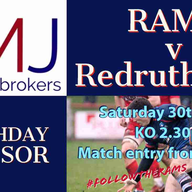RAMS 1st XV v Redruth RFC  - Sat 30th March 2019  KO 2.30pm