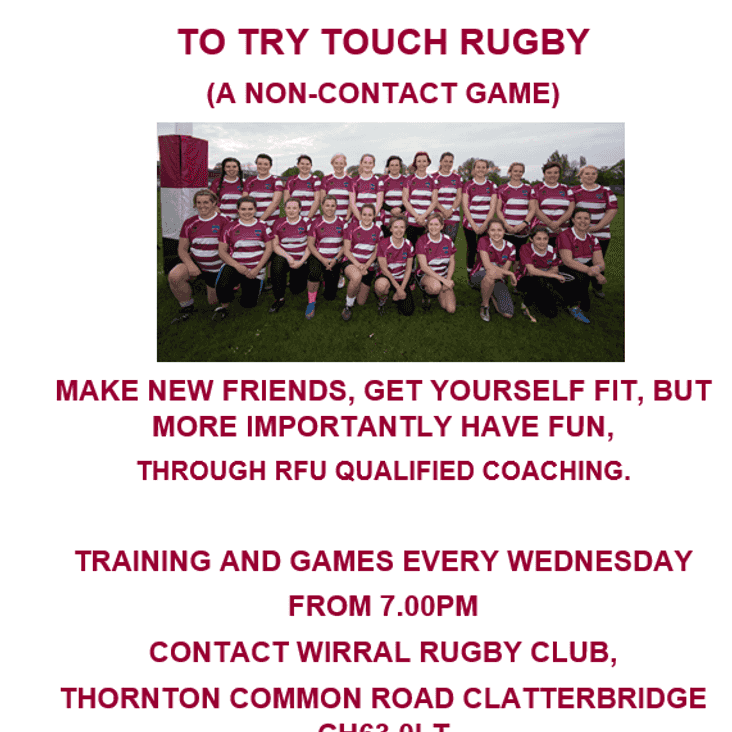 Ladies - Try Touch Rugby - A Non-contact Game