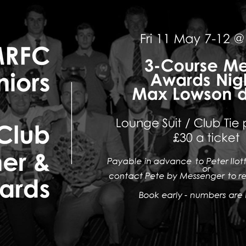 Seniors - Club Dinner & Awards Evening - 11 May