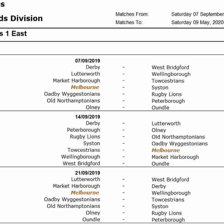The 19/20 1XV Season - Midlands 1 (East)