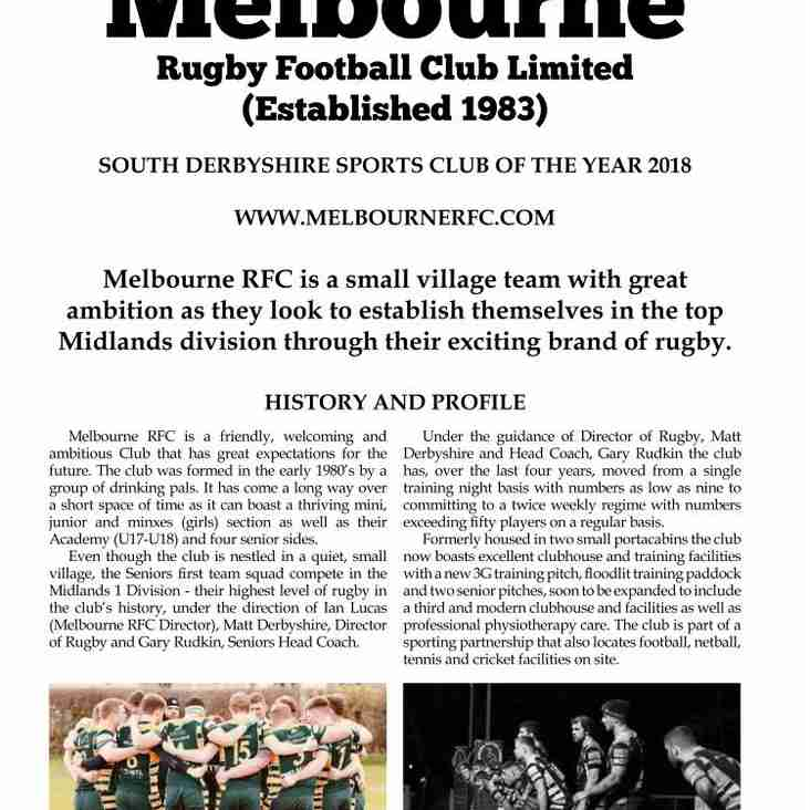 Melbourrne RFC Features in Rugby Club Magazine