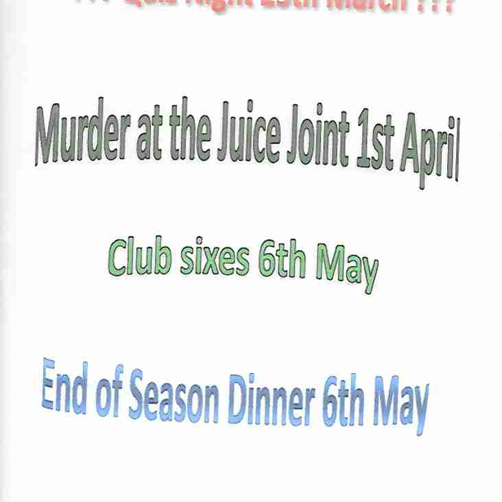 Club socials Keep a date in your diary