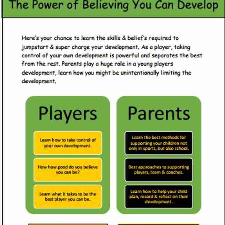 Growth Mindet Workhops for U14 players and parents
