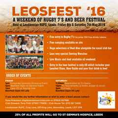 LEOSFEST, BEER AND RUGBY FESTIVAL - FREE BEER FOR ALL 7's PLAYERS