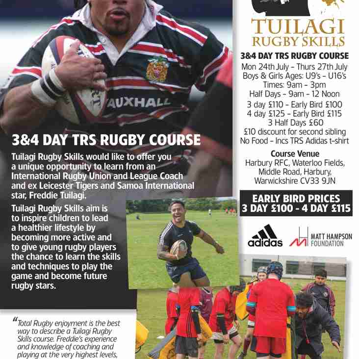 Tuilagi Rugby Skills is back at Harbury RFC for it's 6th year