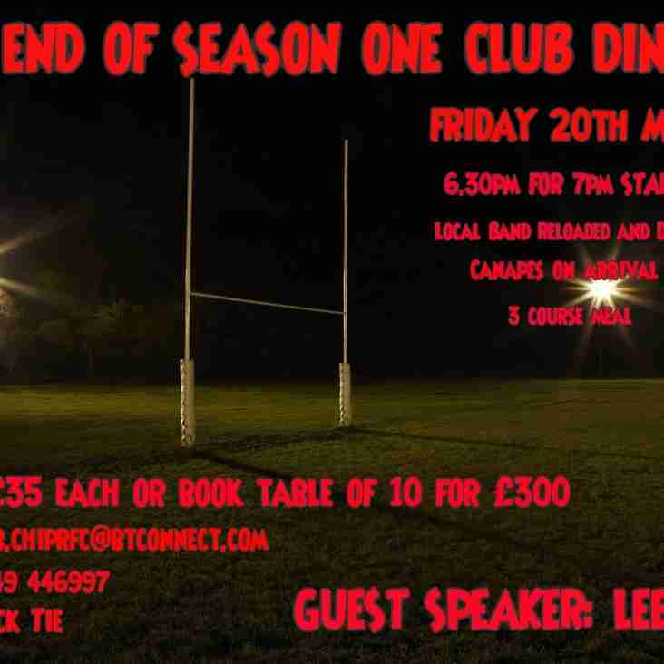END OF SEASON ONE CLUB DINNER