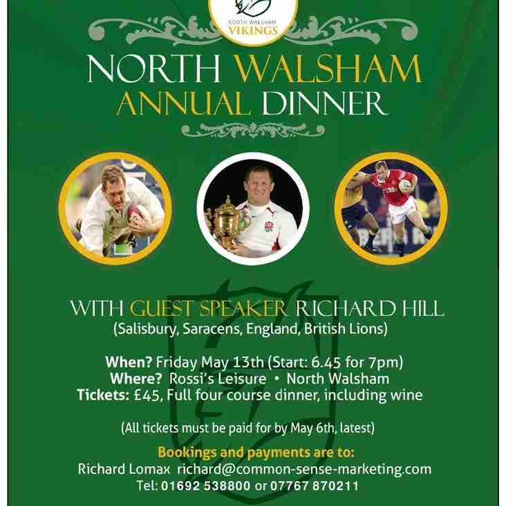 North Walsham Rugby Club Dinner, Friday May 13th