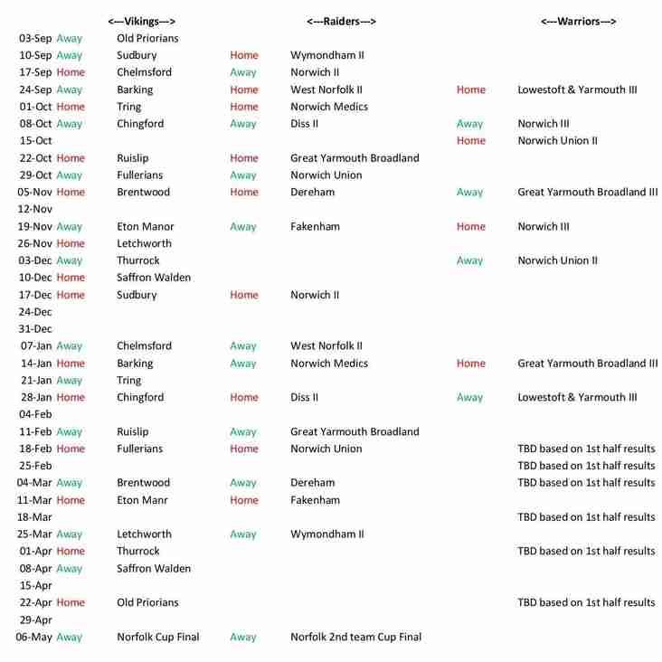 2016-2017 Fixtures Vikings, Raiders and Warriors!!