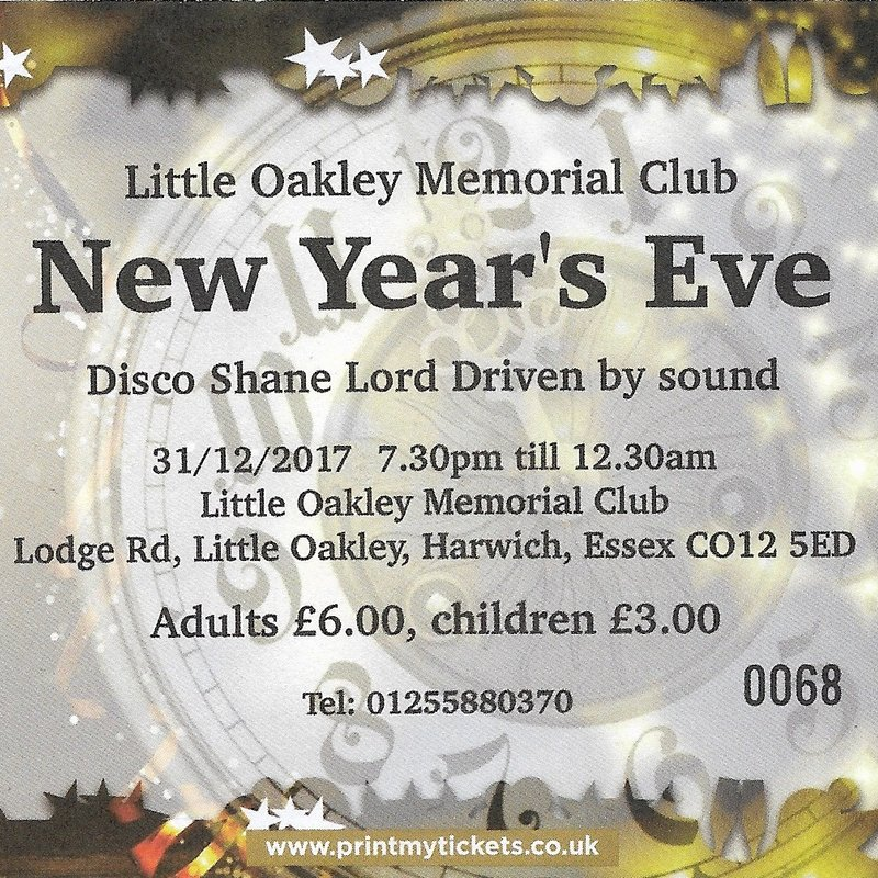 Sunday 31st December 2017 – New Year's Eve Party !