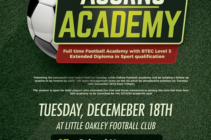 Little Oakley Football Academy To Host Follow Up Session - Tuesday, 18th December 2018