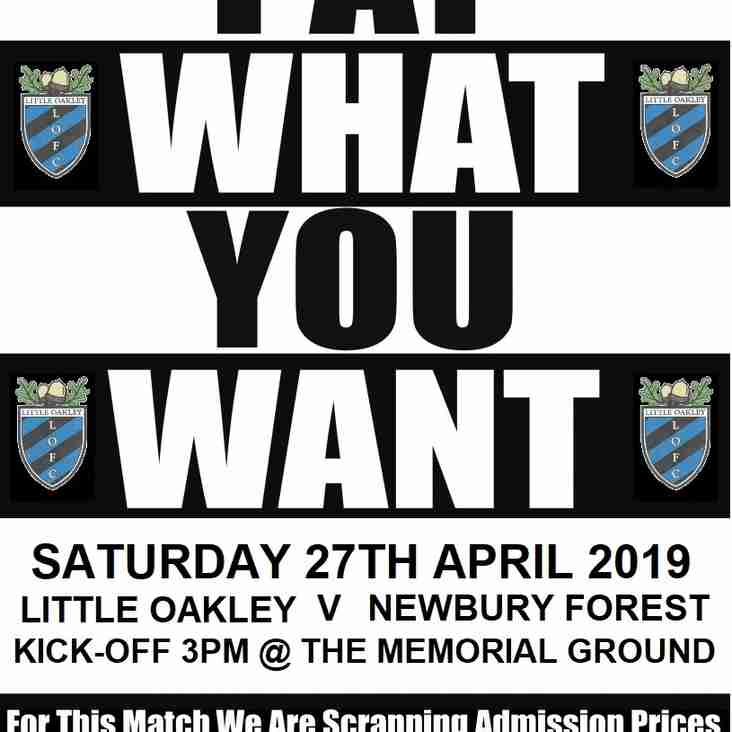 Final League Fixture On Saturday 27th April 2019 Will Be 'Pay What You Want'