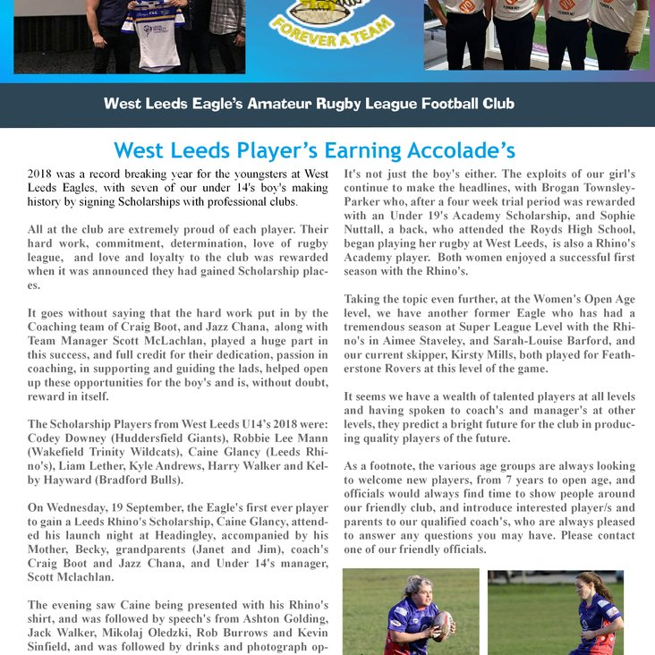 West Leeds Player&#039;s Rewarded with Scholarship places<