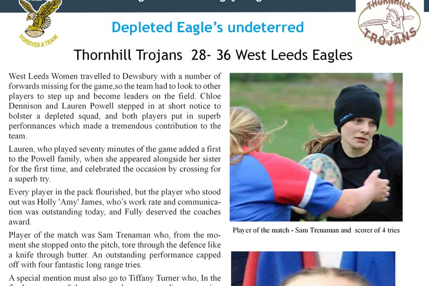 Thornhill Trojans versus West Leeds - Sunday, 9 December 2018