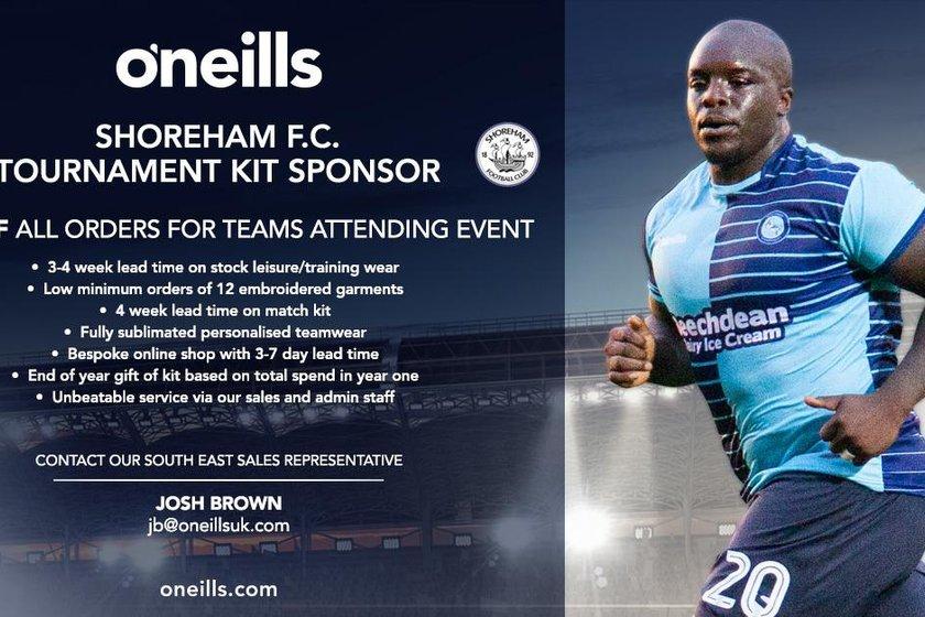 Oneills Kit Sponsor for Shoreham Stadium Tournament
