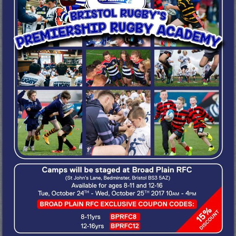 Broad Plain to host Bristol Rugby camps