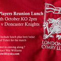London Welsh Past Players Reunion Lunch on 29th October