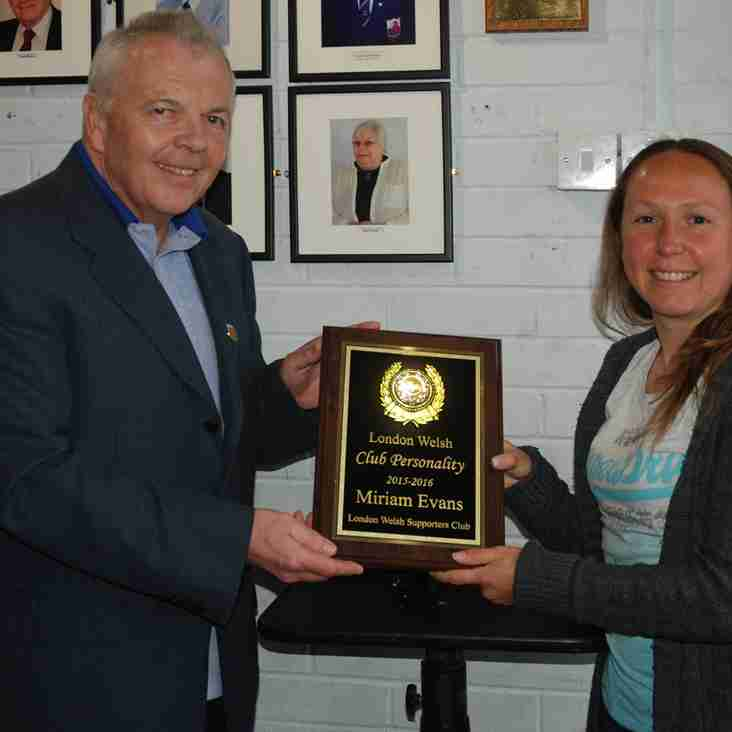 Miriam Evan's Joins Club's Vice Presidents and Receives Supporters Award For Club Personality