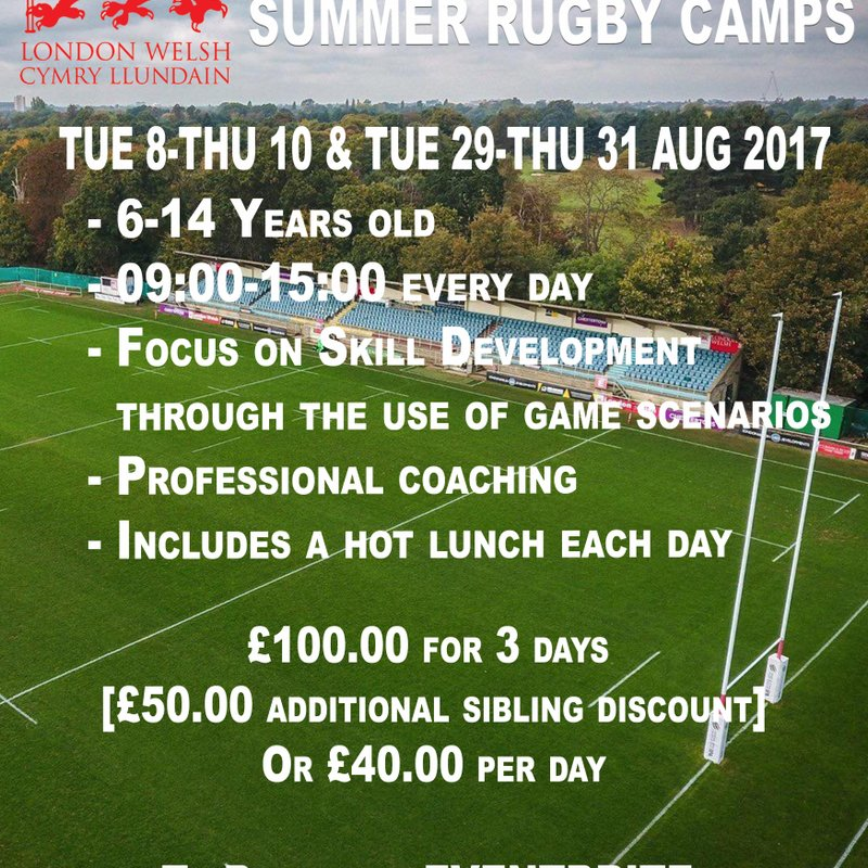 London Welsh Summer Camps are back 8-10Aug and 29-31Aug