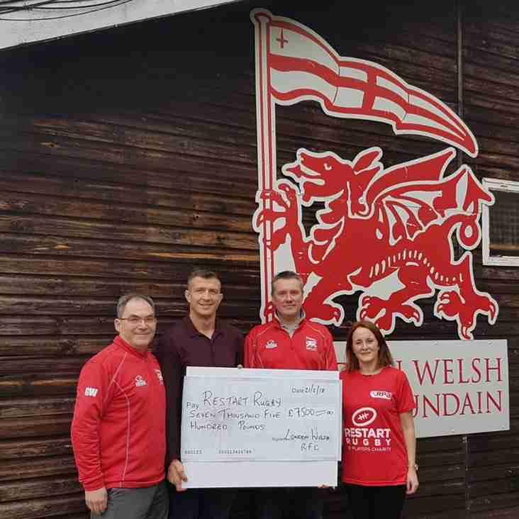 Cheque Presentation to Restart Rugby Raised over £7000