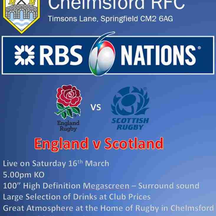 England v Scotland - 5.00pm KO LIVE at the Club