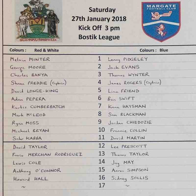 HARROW BOROUGH v Margate, Saturday 27th January 2018