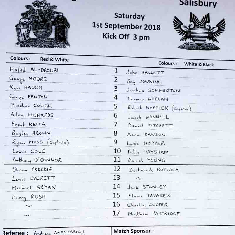 HARROW BOROUGH v Salisbury, Saturday 1st September 2018