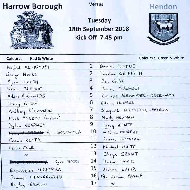 HARROW BOROUGH v Hendon, London Snr Cup, Tuesday 18th September 2018