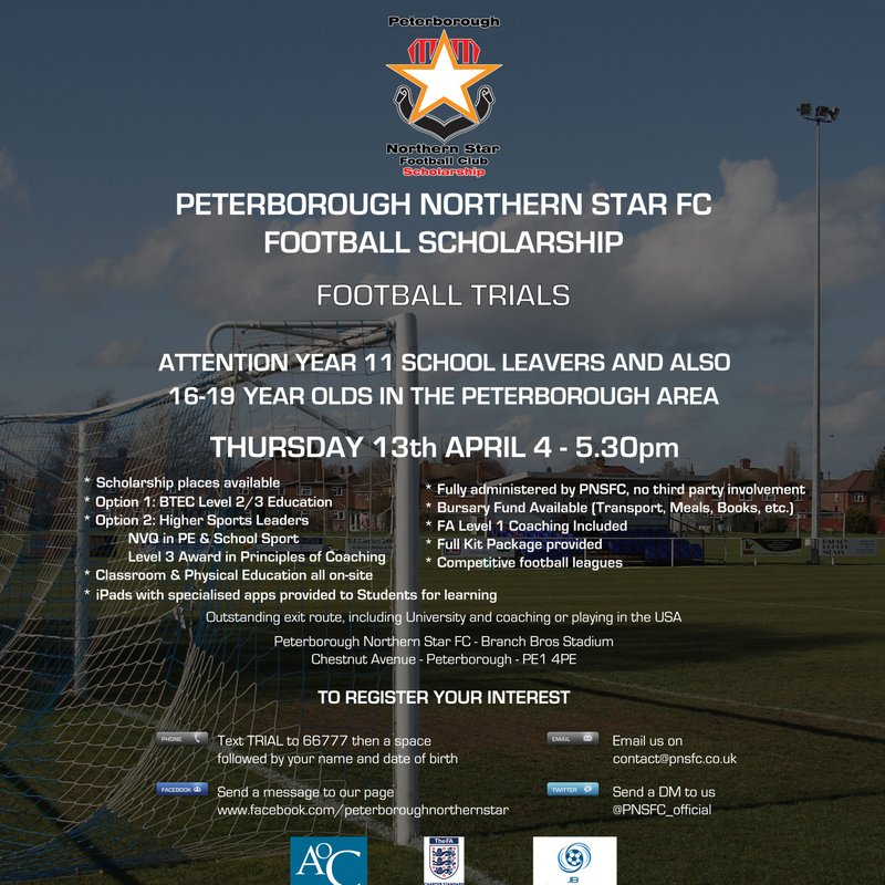PNSFC SCHOLARSHIP: Next Trial Thursday 13th April