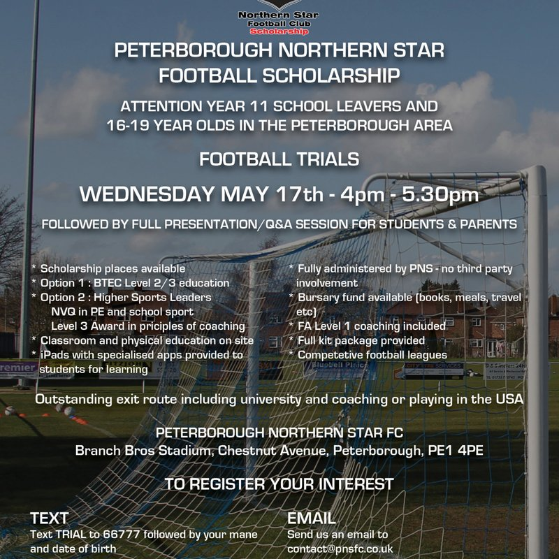 PNSFC SCHOLARSHIP: Next Trial Wednesday 17th May (inc. Presentation/Q&A session)
