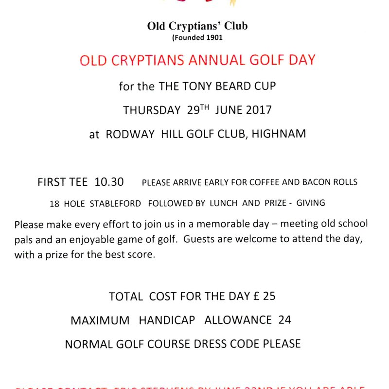 Old Cryptians' Club Annual Golf Day