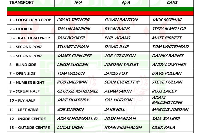 Selected Teams for Saturday