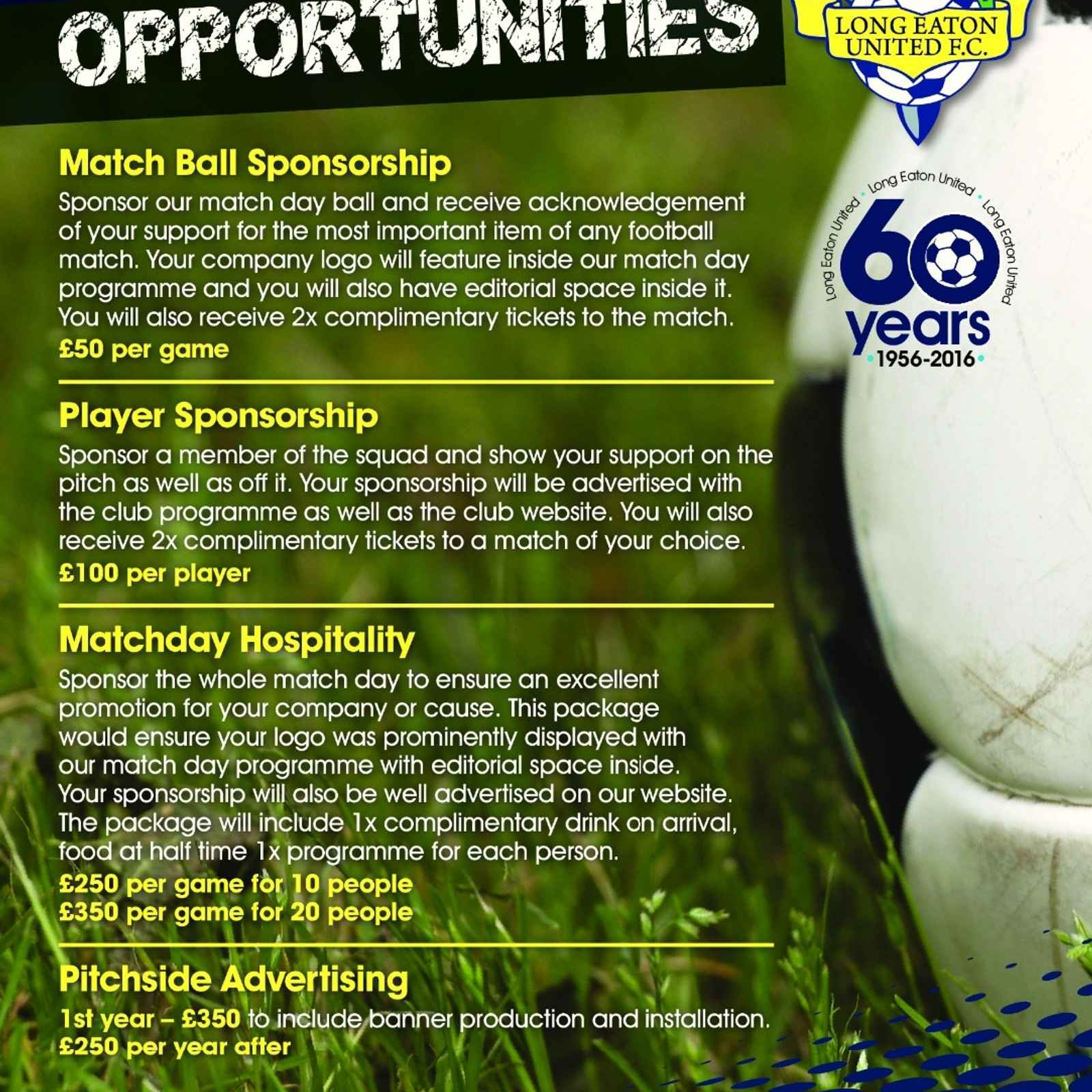 Sponsorship Opportunities at Long Eaton United