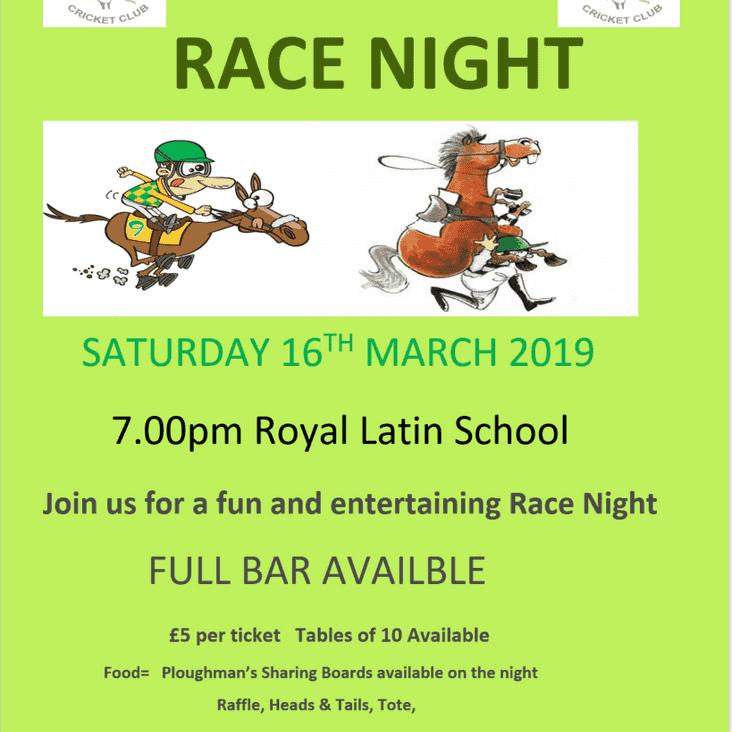 Cricket Club RACE NIGHT 16 Mar 2019 7pm at Royal Latin School
