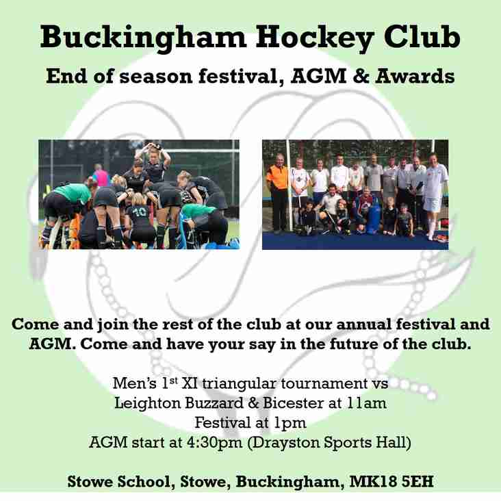 End of Season Festival, AGM and Awards 6th July